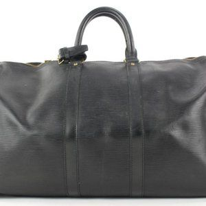 Louis Vuitton Black Epi Leather Noir Keepall 50